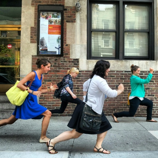 Ladies who LUNGE. On the way to lunch, of course. Allison D., Jen H., Caroline W. and Jennifer B. of New York, NY